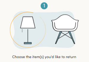 step 1 in returning wayfair products