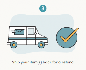 step 3 in returning wayfair products