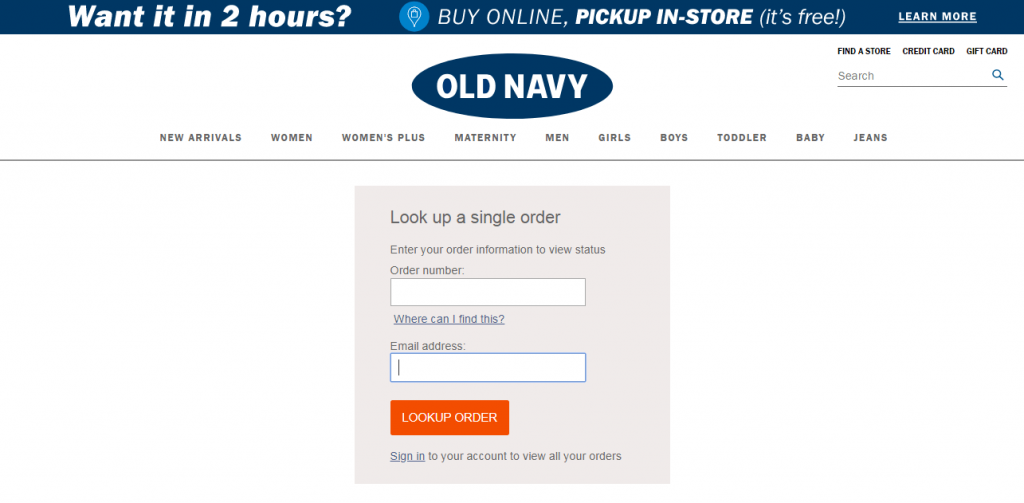 Track your old navy order