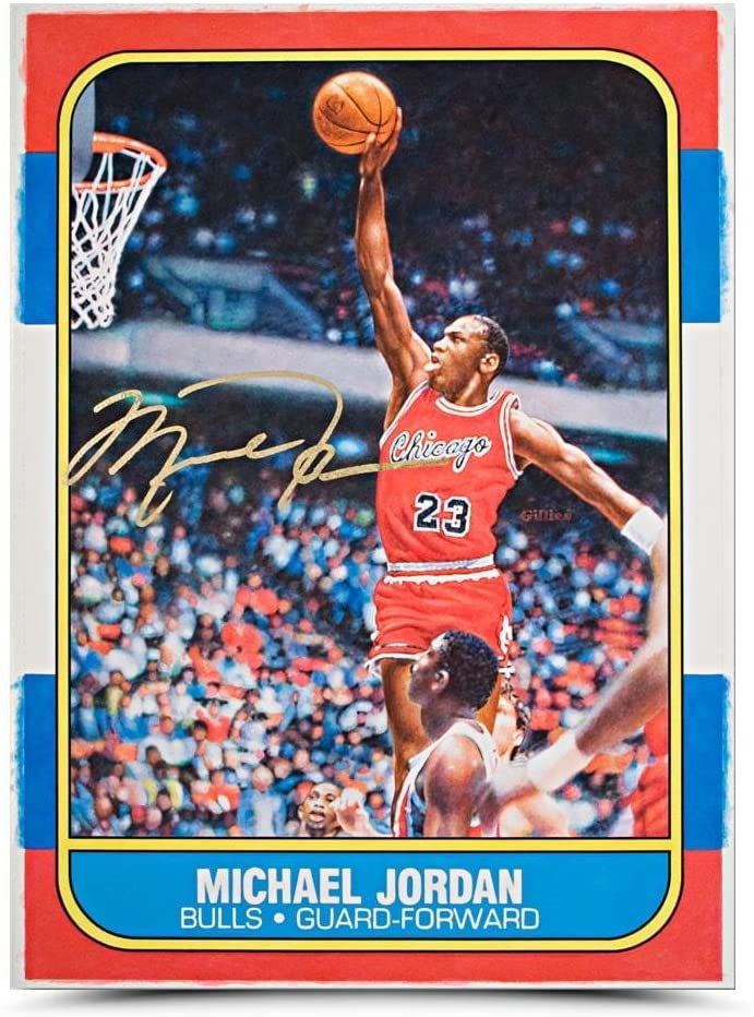 Michael Jordan autographed original Fleer Rookie Card art on Amazon